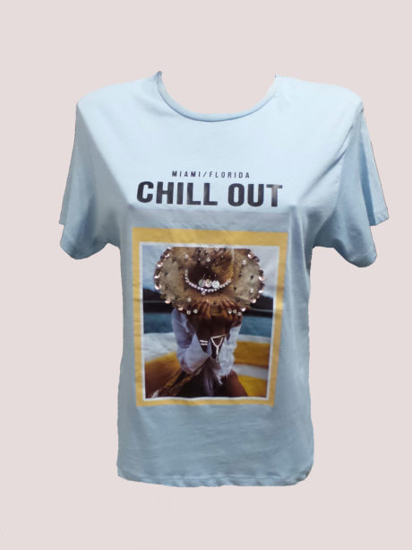 T-SHIRT ΣΤΑΜΠΑ CHILL OUT ΣΙΕΛ