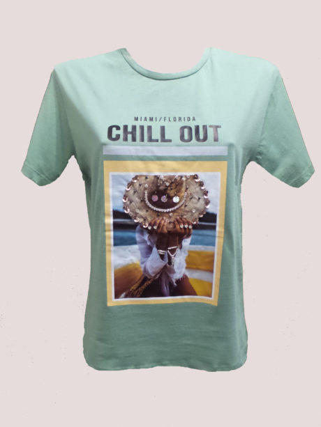 T-SHIRT ΣΤΑΜΠΑ CHILL OUT ΛΕΥΚΟ