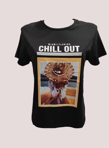 T-SHIRT ΣΤΑΜΠΑ CHILL OUT ΜΑΥΡΗ