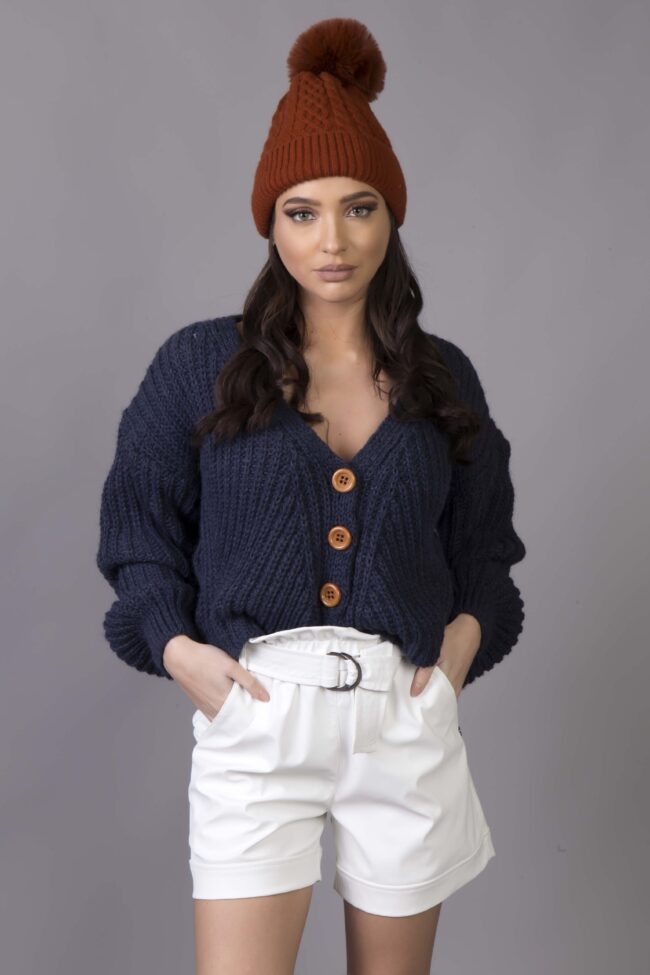 Oversized Knitted Zaceta with Inflatable MANIKIES (Blue Maren)