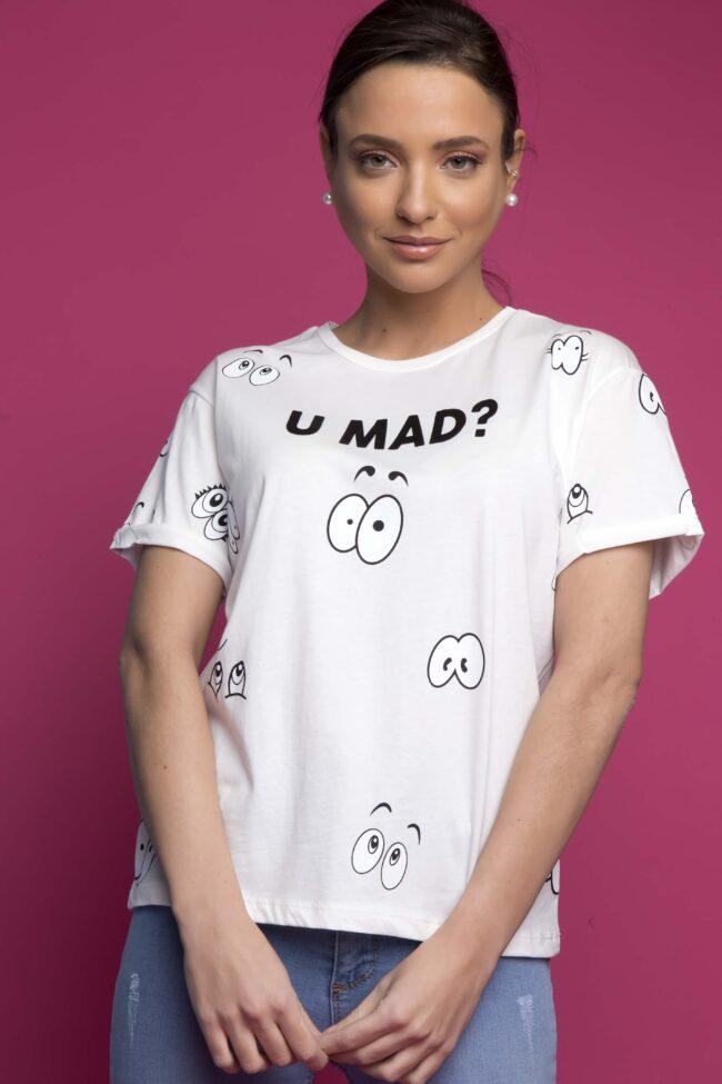 T-SHIRT ''U MAD?'' (ΛΕΥΚΟ)