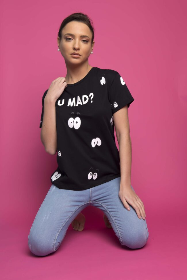 T-SHIRT ''U MAD?'' (ΜΑΥΡΟ)