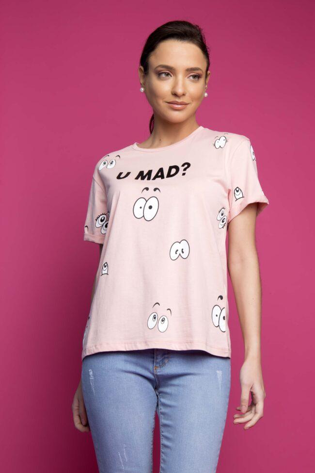 T-SHIRT ''U MAD?'' (ΡΟΖ)