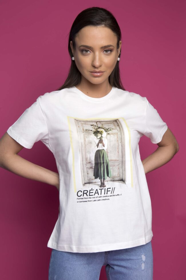 T-SHIRT ΜΕ ΣΤΑΜΠΑ ''CREATIF'' (ΛΕΥΚΟ)