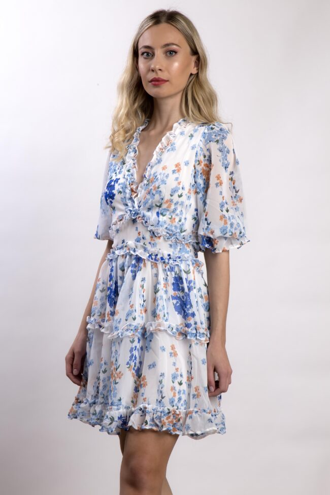 FLORAL DRESS WITH VOLAN