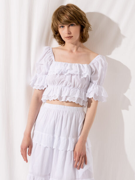 CROP TOP WITH GLORS (WHITE)