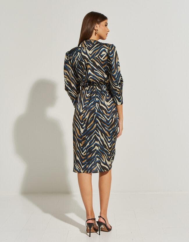 Κρουαζέ animal print φόρεμα με γιακά